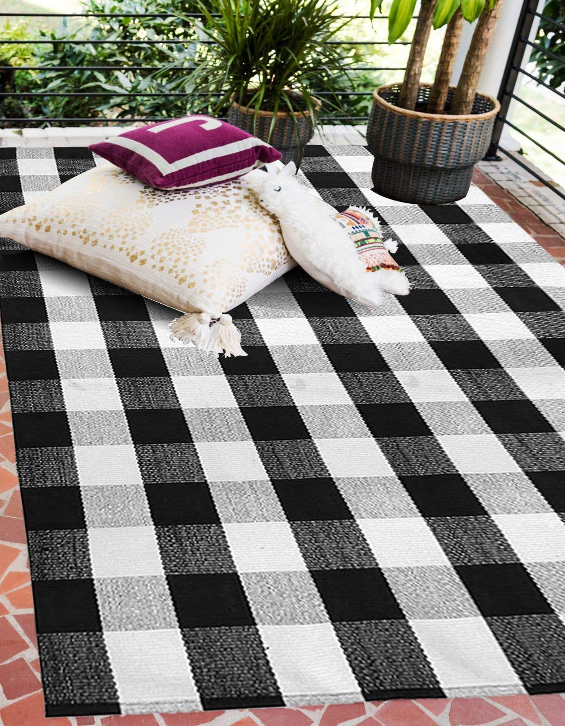 Buffalo Plaid Rug Outdoor 4 x 6 , Cotton Hand-Woven Reversible Foldable Washable Outdoor Rug Stripe for Layered Door Mats Porch Front Door 47.2 x70.8