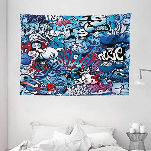 Ambesonne Modern Tapestry, Teenager Style Image Street Wall Graffiti Graphic Colorful Design Artwork Print, Wide Wall Hanging for Bedroom Living Room Dorm, 80 X 60 , Pale Blue