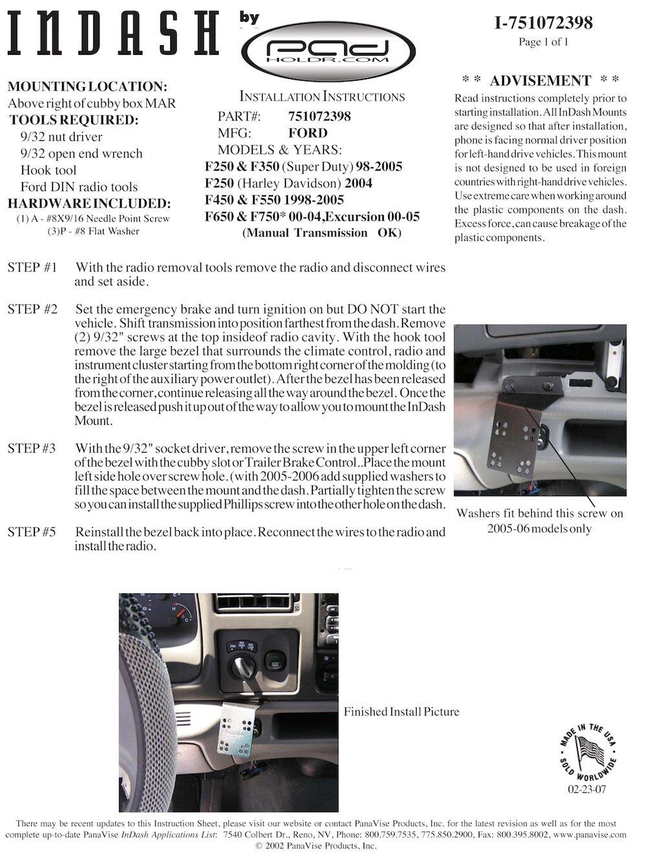 Padholdr Utility Series Premium Locking Tablet Dash Kit for 98-09 Ford Excursion and F250-750 Series