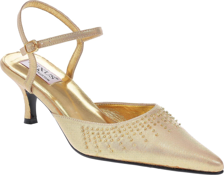 Ladies Bridal Low Heel Sling Back Pointed Toe Sandal with Diamante Trim in Ivory Lexus lTCHKx