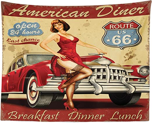 Route US 66 Garage Red Car Tapestry Wall Hanging Living Room Bedroom Dorm Decor