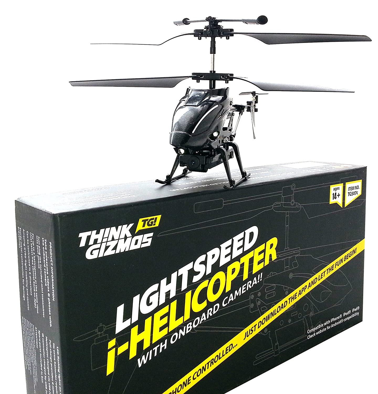 ThinkGizmos iHelicopter With Camera iCam Lightspeed Android iPad iPhone Controlled i Helicopter With Camera For Video & Stills Trademark Protected