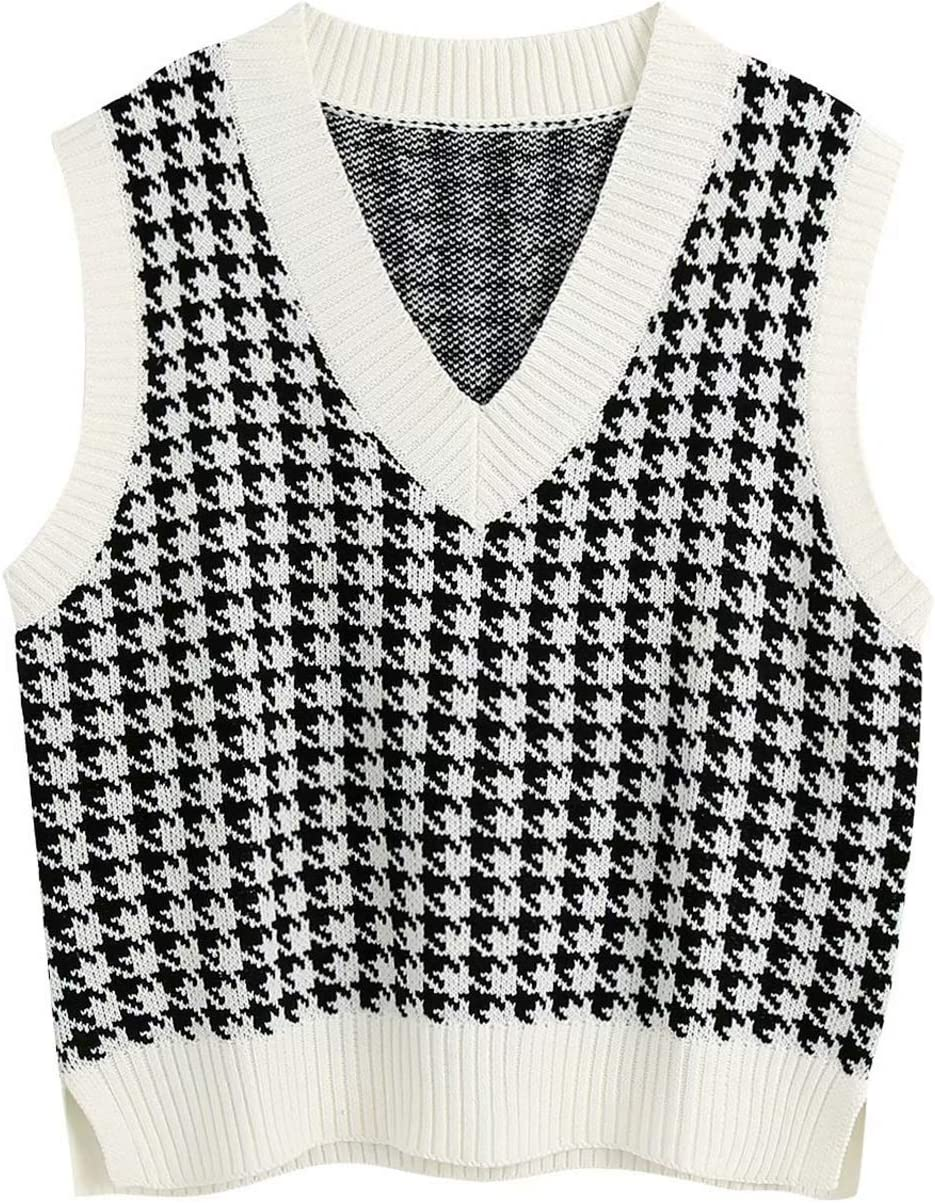 Women Knitted Vest Sweater V Neck Y2K Sleeveless Vintage Sweater Vest Loose Crop Sweaters Casual Autumn Preppy Style Waistcoat Chic Tops