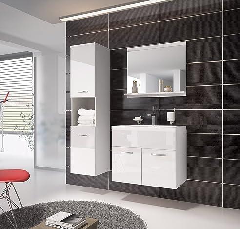 Badezimmer Badmöbel Montreal 60 Cm Waschbecken Hochglanz Weiß Fronten    Unterschrank Hochschrank Waschtisch Möbel