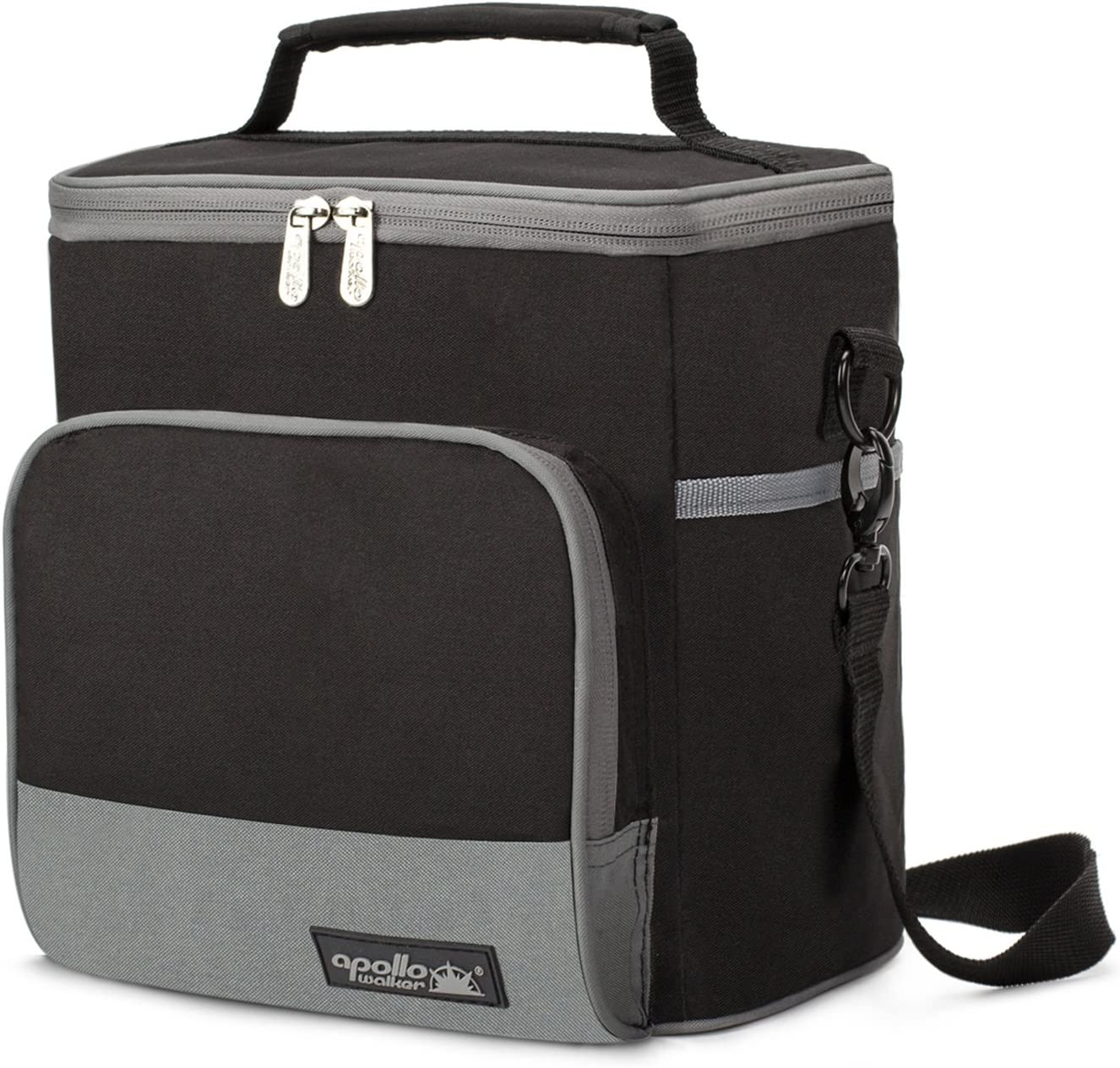 Apollo Walker Lunch Box Insulated Lunch Bag Large Foldable Waterproof Cooler Picnic Tote Bag for Adult Men, Women, Black