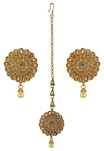 MUCHMORE Traditional Gold Tone Earrings With Maang Tikka Partywear Jewelry (ERMT-10201 LCT) PHsDTPz2
