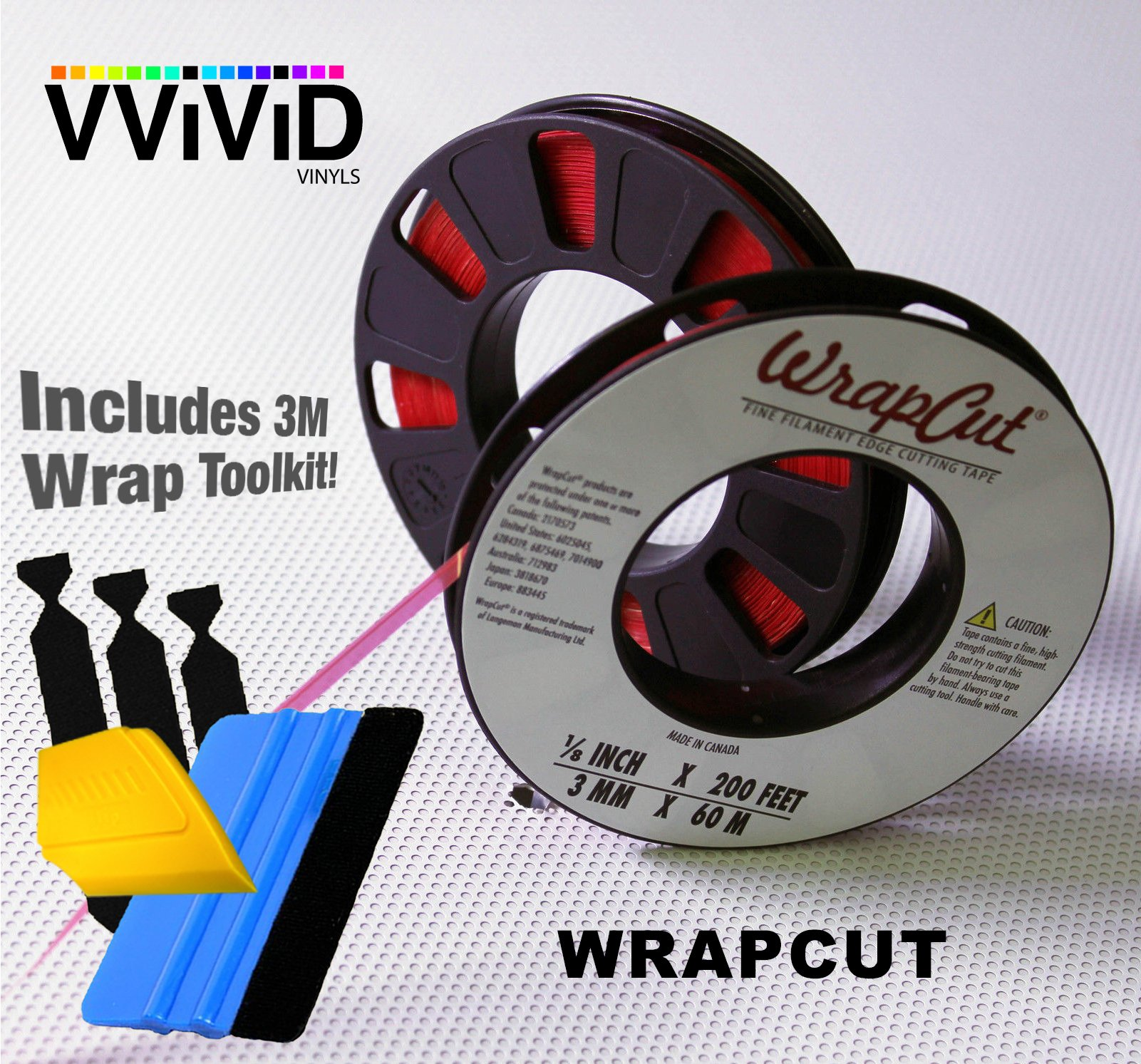 VViViD Wrap Cut Vinyl Wrap Edge Cutting Detailer Tape 200ft Including 3M Vinyl Wrap Toolkit (3 Rolls w/Toolkit (Squeegee, Detailer, 3 Felts)) by VViViD (Image #1)