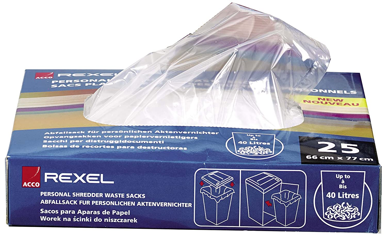 Rexel Sacchetti Riciclabili per Distruggidocumenti di Grandi Uffici, Capacità 115L, Pacco da 100, 40070 504358