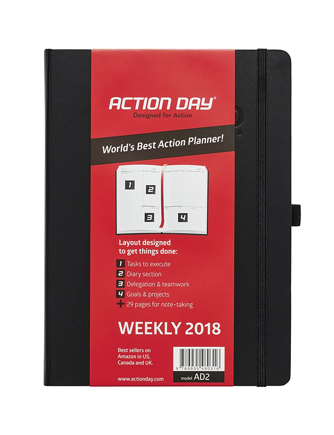 Hot Action Day 2018 – World's Best Action Planner – Action Layout That Gets Things Done - Daily / Weekly / Monthly / Yearly Agenda, Organizer & Goal Journal (8x11 / Thread-Bound /Black) hot sale