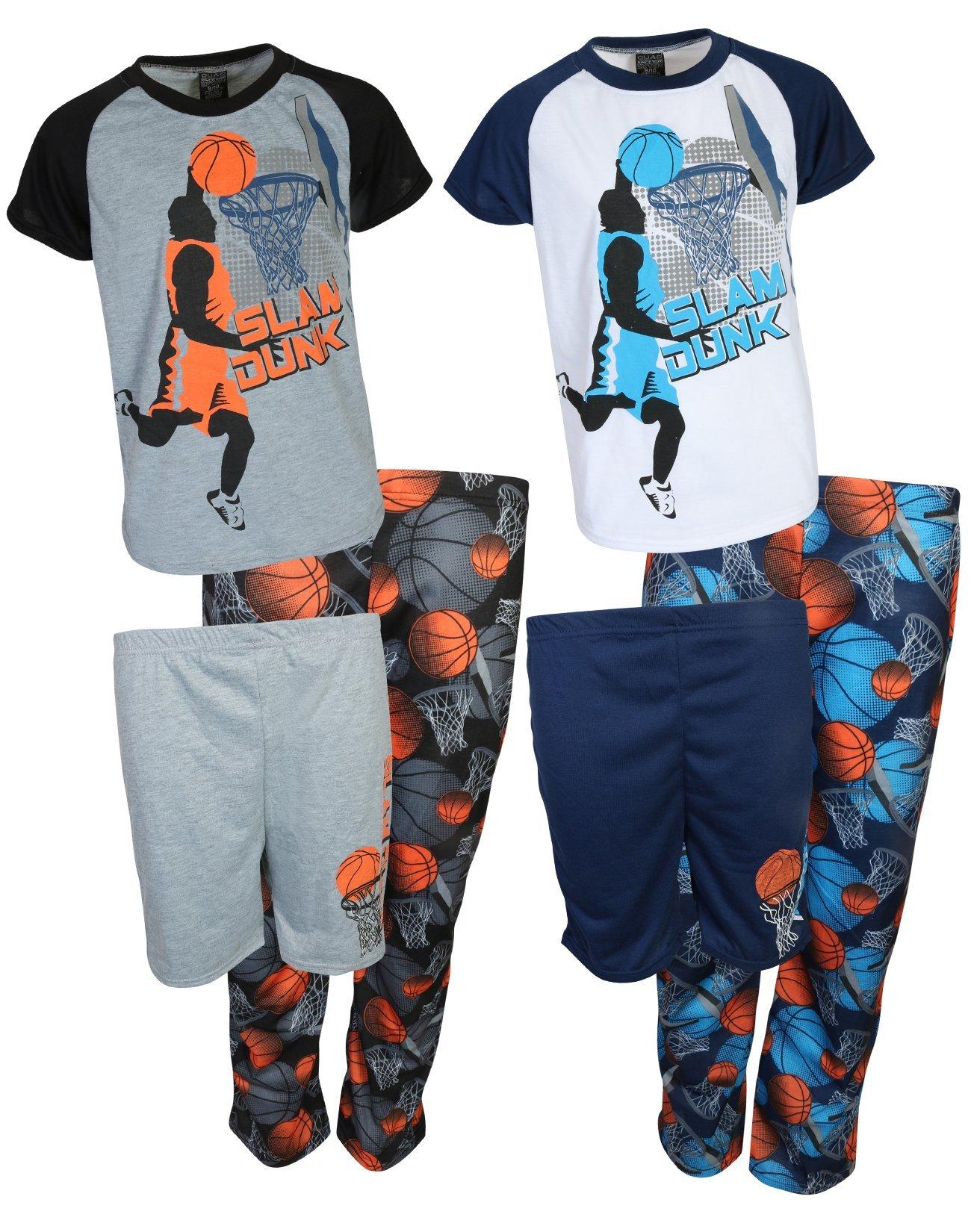 Quad Seven Boys 6 Piece Mix & Match Pajama Set (2 Tops, 2 Shorts and 2 Pants) Slam Dunk, Size 16/18'
