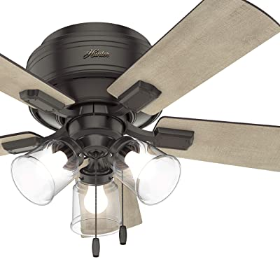 Buy Hunter Fan 42 Inch Noble Bronze Low Profile Indoor Ceiling Fan With Clear Rippled Glass Light Kit And Led Bulbs Renewed Online In Indonesia B07p8wf5vn