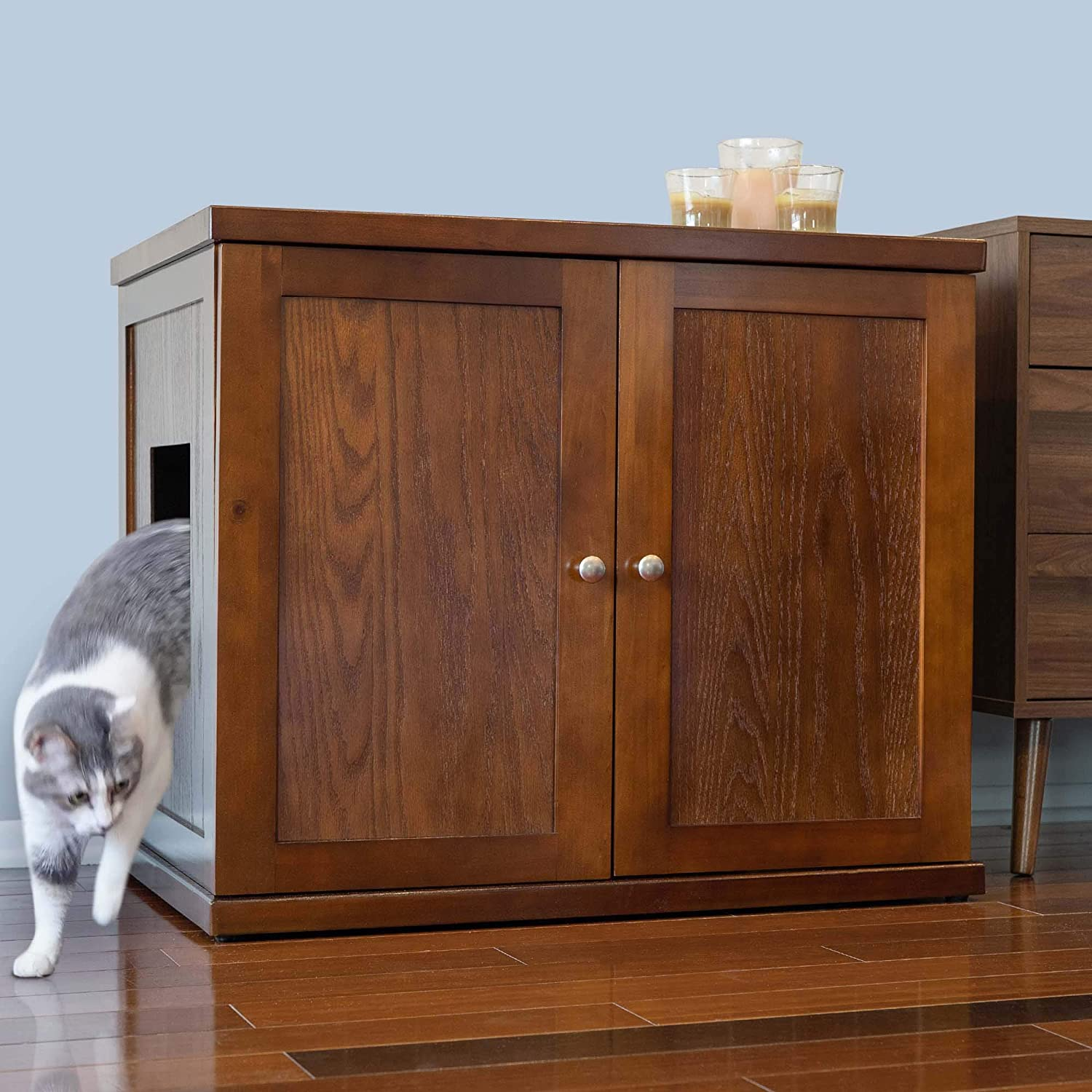 THE REFINED FELINE Cat Litter Box Enclosure Cabinet, Hidden Litter Tray Cat Furniture, Large + XLarge, Modern Style, Mahogany Color