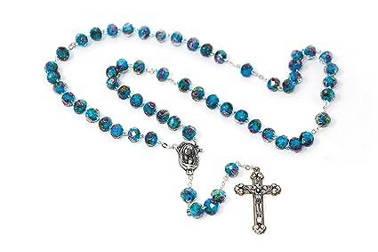 Turquesa escapulario rosario y Lourdes tarjeta de oración)