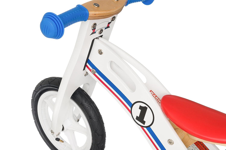 Color Blanco BIKESTAR edici/ón de 12 Pulgadas Azul y Rojo Bicicleta de Equilibrio de Madera para ni/ños a Partir de 3 a/ños