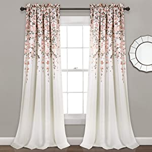"Lush Decor Weeping Flowers Room Darkening Window Panel Curtain Set (Pair), 84"" x 52"", Blush and Gray, 84"" x 52"","