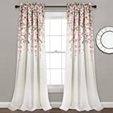 "Lush Decor 16T004096, Blush and Gray Weeping Flowers Room Darkening Window Panel Curtain Set (Pair), 84"" x 52, 84"" x 52"""