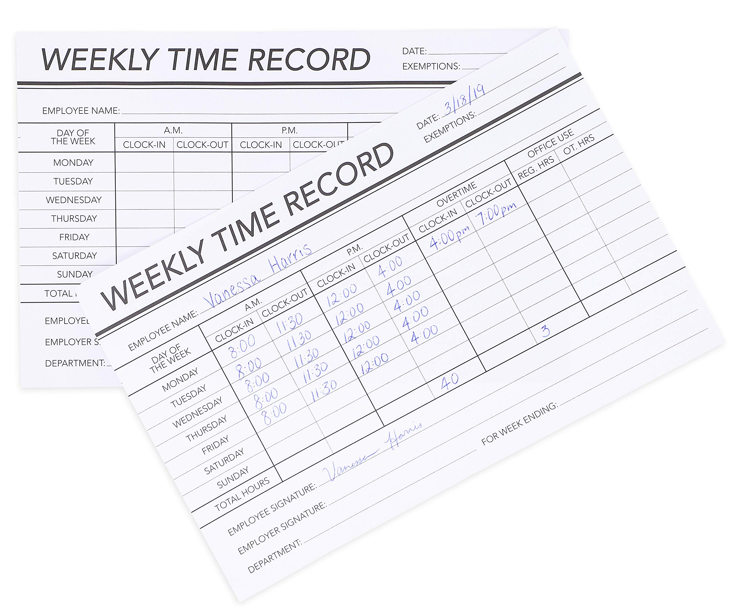 Juvale 6-Pack, 100 Sheets per Pad - Weekly Time Clock Record Cards for Employees, 1-Sided, 8.5 x 5.5 Inches by Juvale