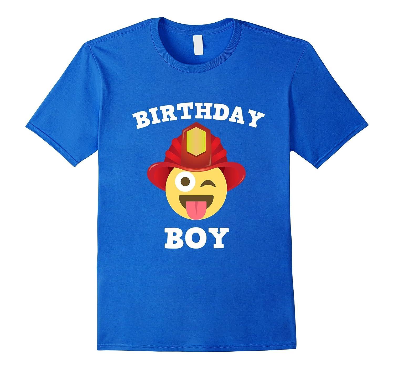 Emoji Birthday Boy Fireman T-Shirt Wink Out Shirt