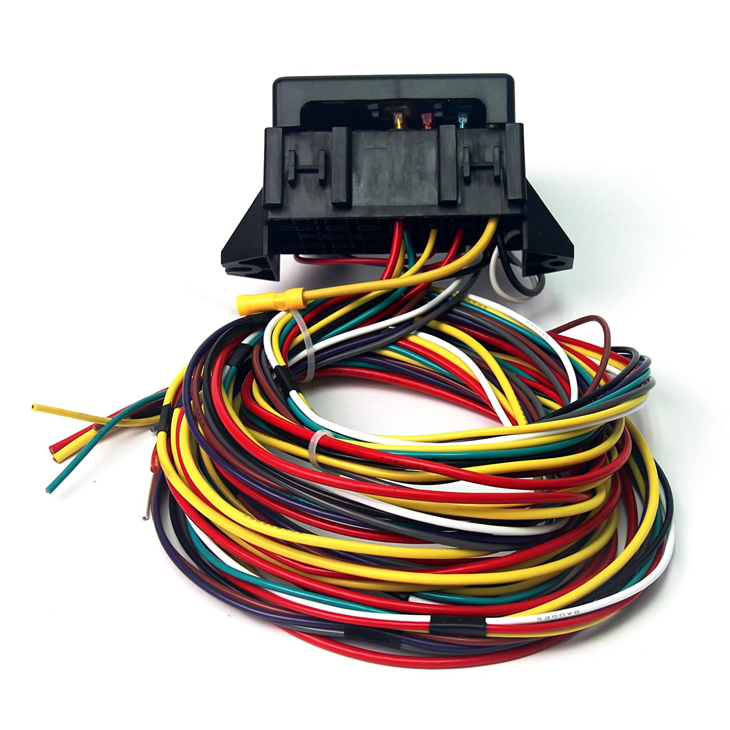 Amazon.com: Wisamic 10 Circuit Basic Wiring Harness Fuse Box Street Hot Rat  Rod Wiring Box Car Truck 12V: Automotive