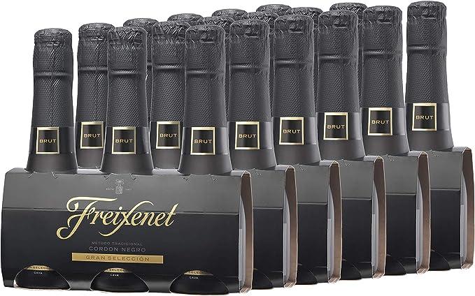Freixenet Mini Cordon Negro Cava Brut Pack 3 botellas de 200 ml - Lote de 6 packs- Total: 3600 ml