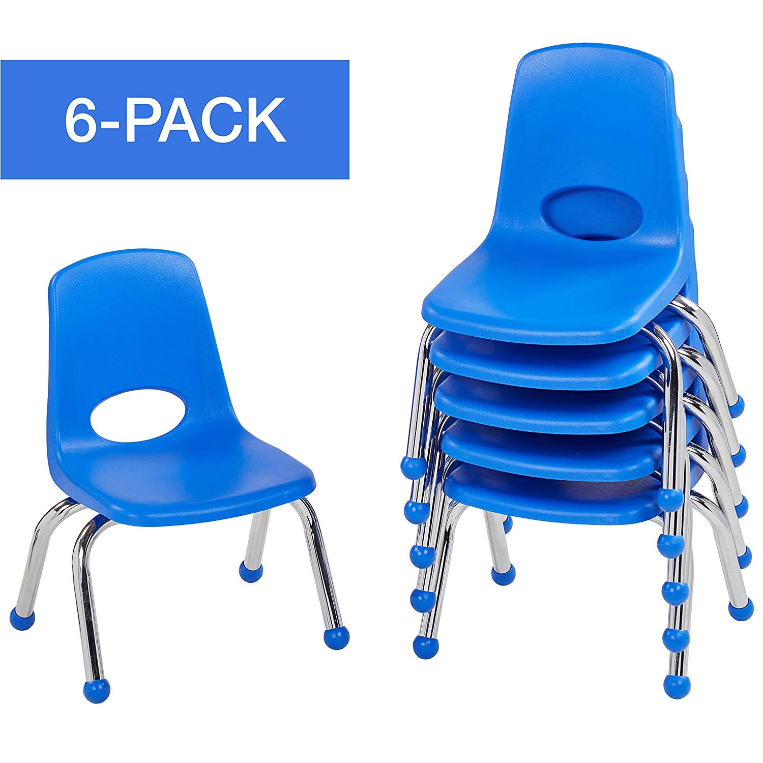 "ECR4Kids 10"" School Stack Chair, Chrome Legs with Ball Glides, Blue (6-Pack)"