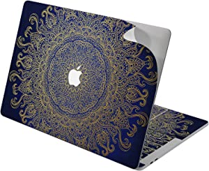 "Cavka Vinyl Decal Skin for Apple MacBook Pro 13"" 2019 15"" 2018 Air 13"" 2020 Retina 2015 Mac 11"" Mac 12"" Luxury Blue Motif Mandala Cover Oriental Design Sticker Flower Bohemian Print Laptop Protective"