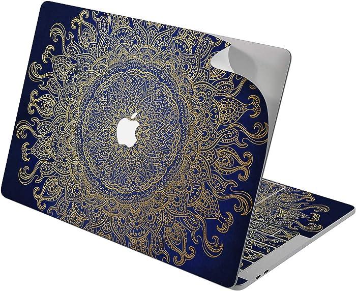 "Cavka Vinyl Decal Skin for Apple MacBook Pro 13"" 2019 15"" 2018 Air 13"" 2020 Retina 2015 Mac 11"" Mac 12"" Luxury Blue Motif Mandala Cover Oriental Design Sticker Flower Bohemian Print Laptop Protective"