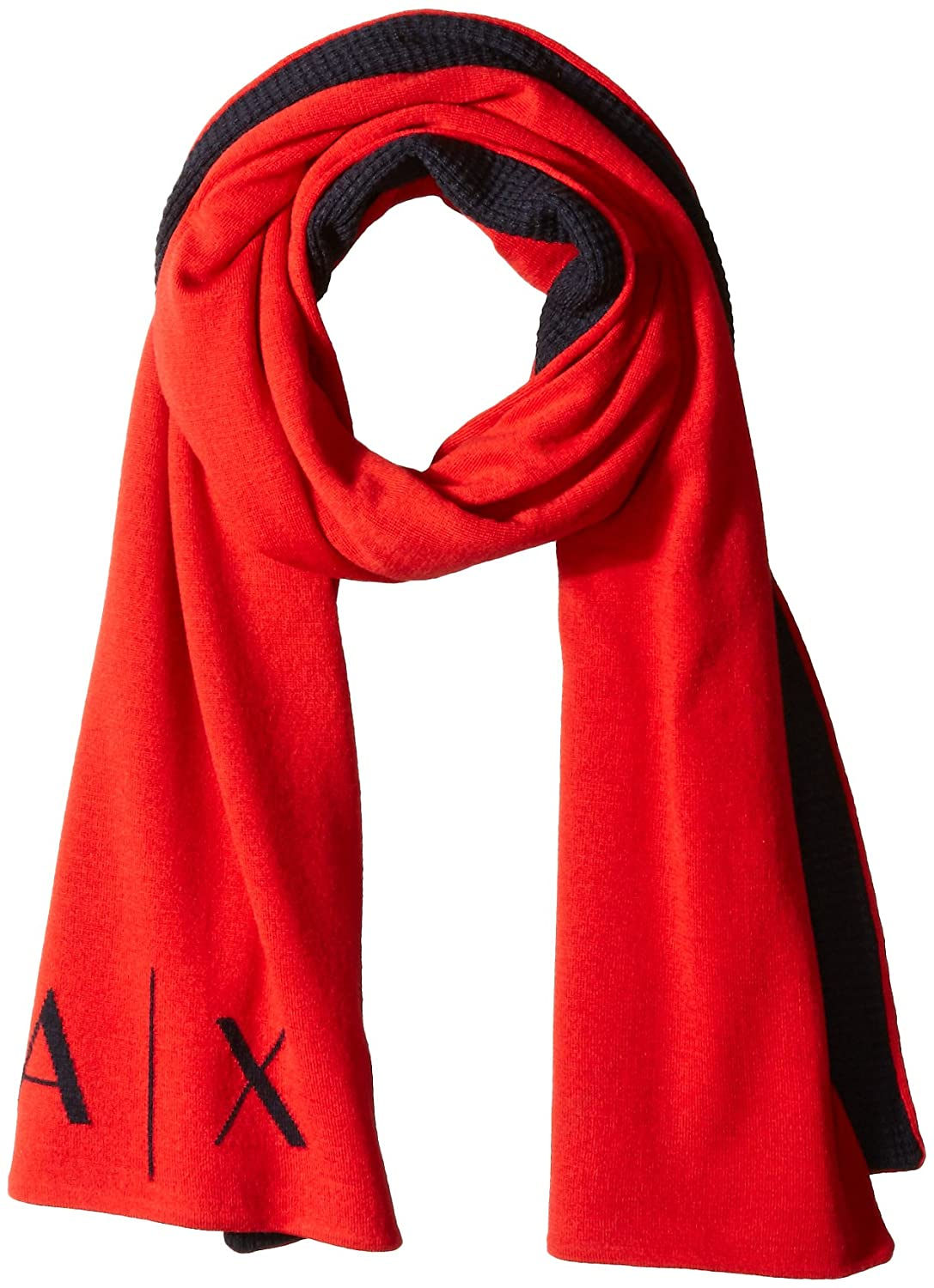 Armani Exchange Men's Knitted Logo Scarf Absolute Red/Navy One Size 954002-6A007