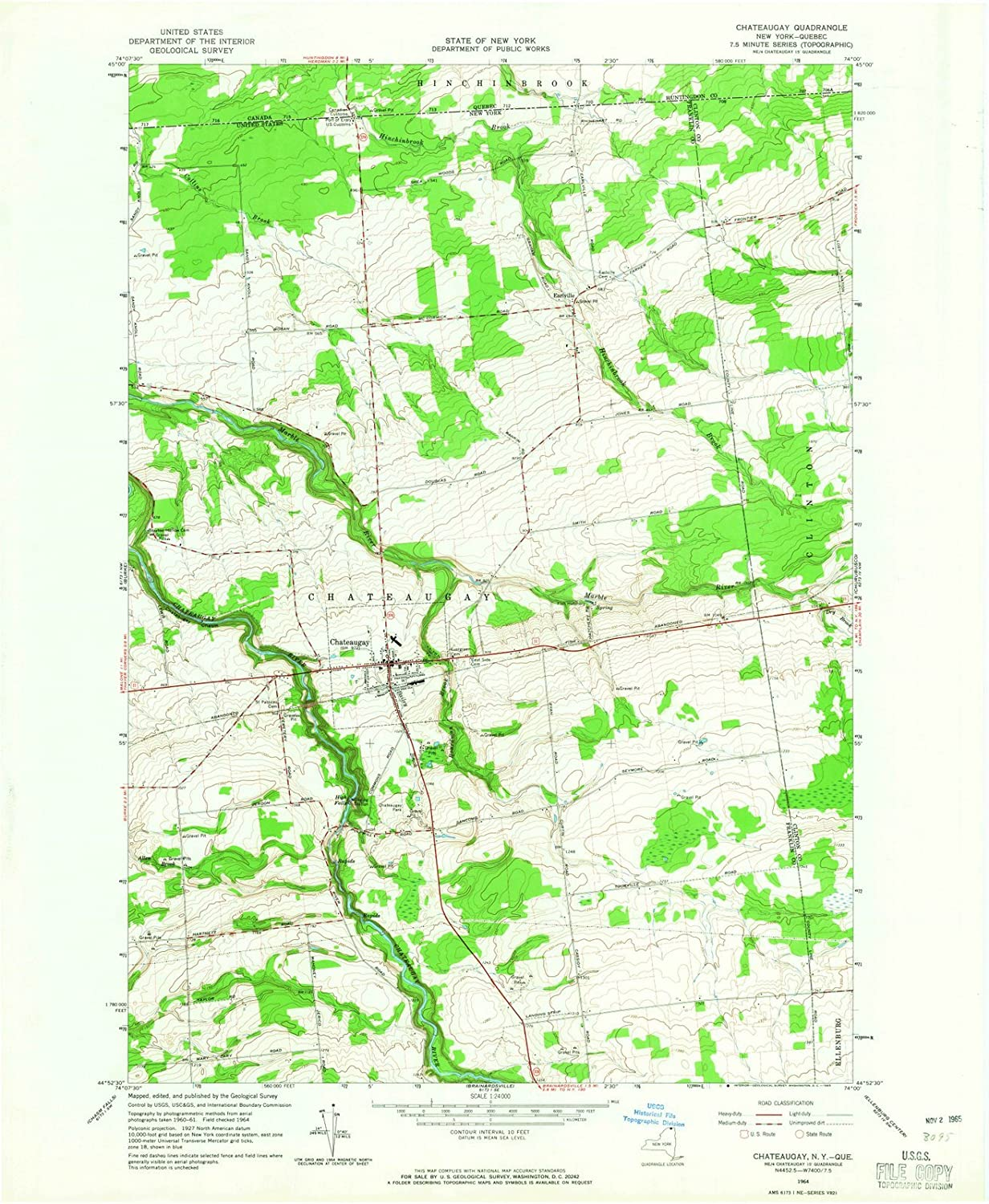 Quebec Topographic Map.Amazon Com New York Maps 1964 Chateaugay Ny Usgs Historical