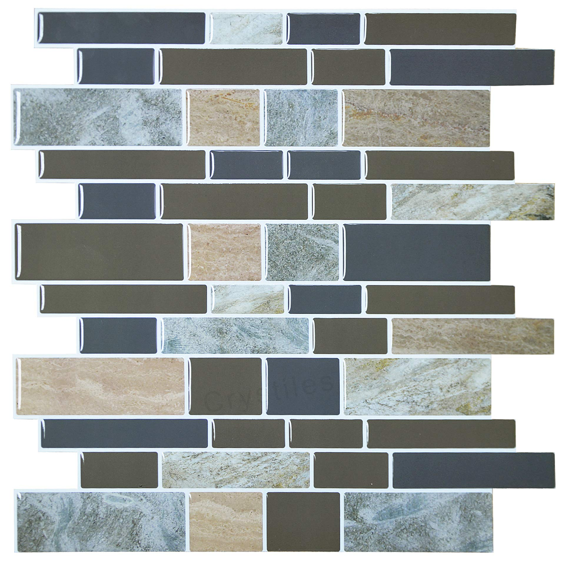 Crystiles 12''x12'' Vinyl Peel and Stick Backsplash Tile, Multi-Color Marbles, Pro Series Thicker Version, 4-Sheet Pack
