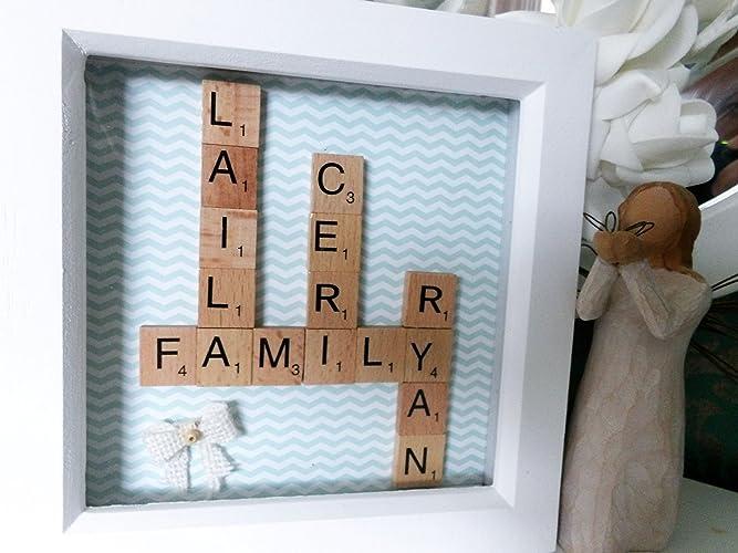 Amazon.com: Personalised Family Tree Scrabble Tile Art Frame ...