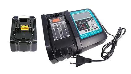 reemplazar por 18V 5Ah batería Makita BL1850 BL1840 BL1830 BL1815 194204-5 con reemplazar 3A interfaz USB con cargador de pantalla led para Makita ...