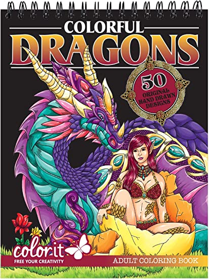 Amazon.com: ColorIt Colorful Dragons Adult Coloring Book - 50 Single-Sided  Designs, Thick Smooth Paper, Lay Flat Hardback Covers, Spiral Bound, USA  Printed, Dragon Pages To Color: Arts, Crafts & Sewing