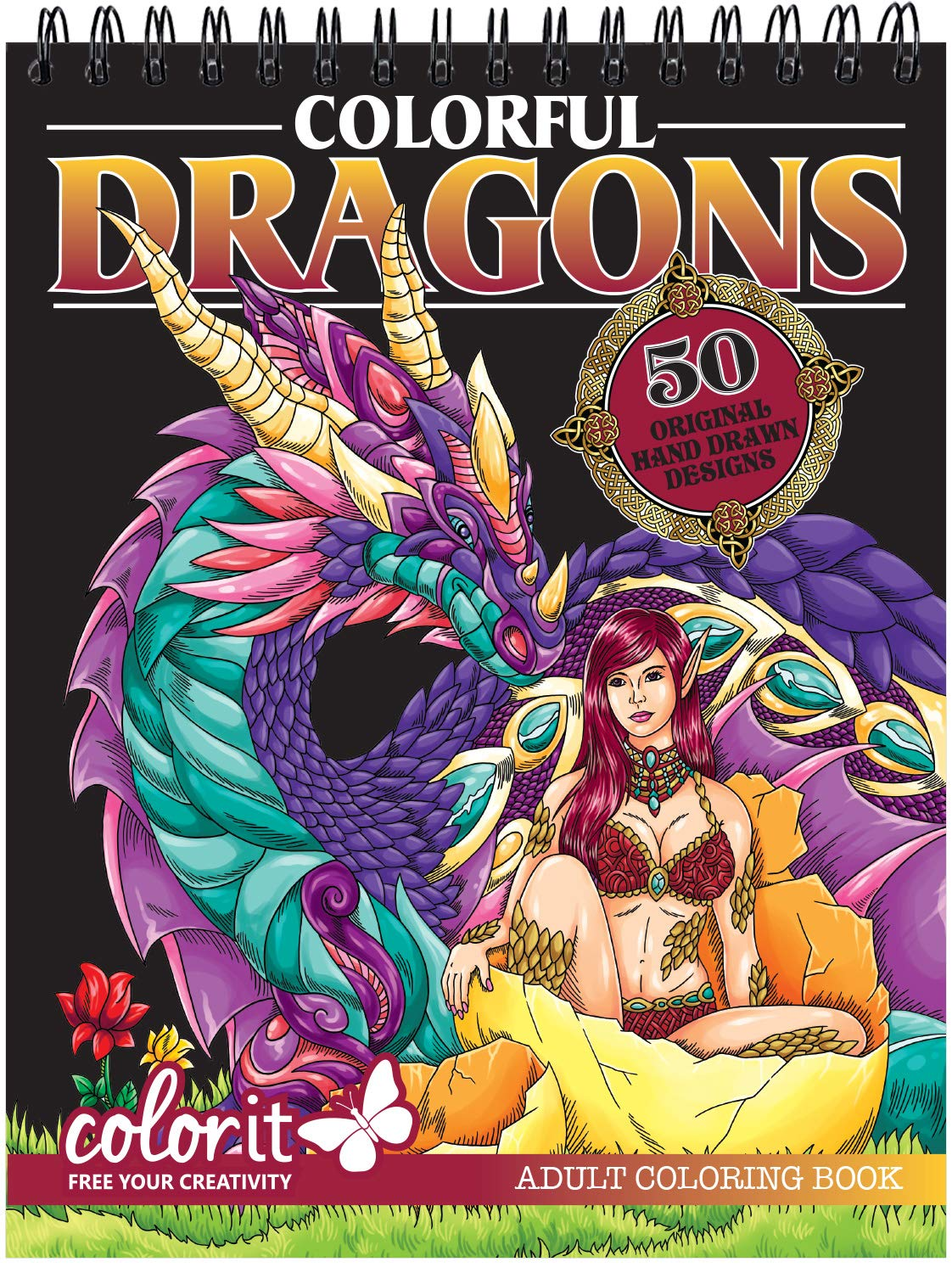 ColorIt Colorful Dragons Adult Coloring Book - 50 Single-Sided Designs, Thick Smooth Paper, Lay Flat Hardback Covers, Spiral Bound, USA Printed, Dragon Pages to Color by ColorIt