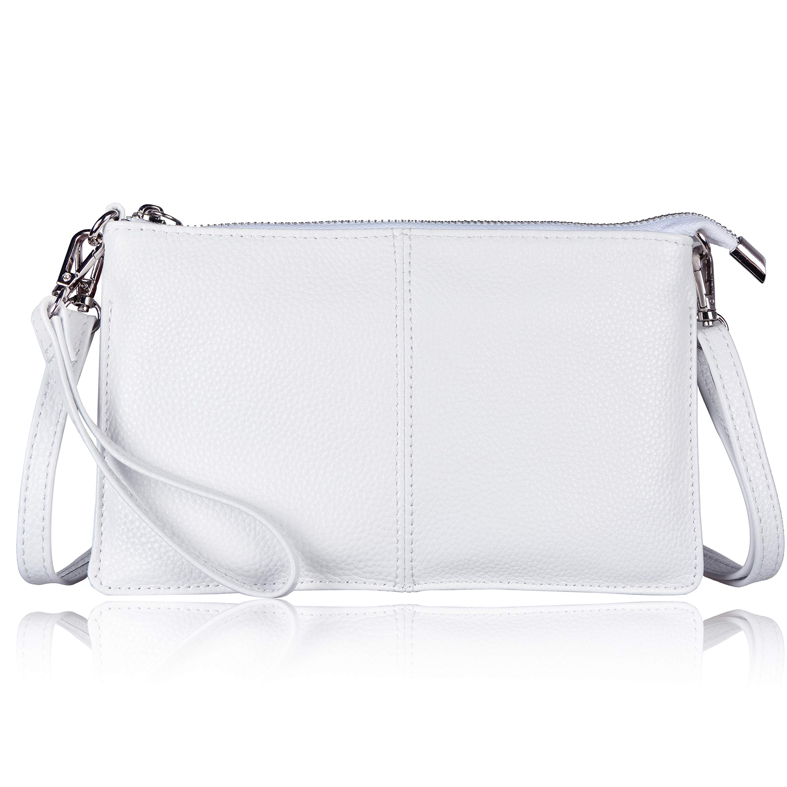 Befen Women's Leather Wristlet Clutch Phone Wallet Mini Crossbody Purse Bag with Card Slots (White)