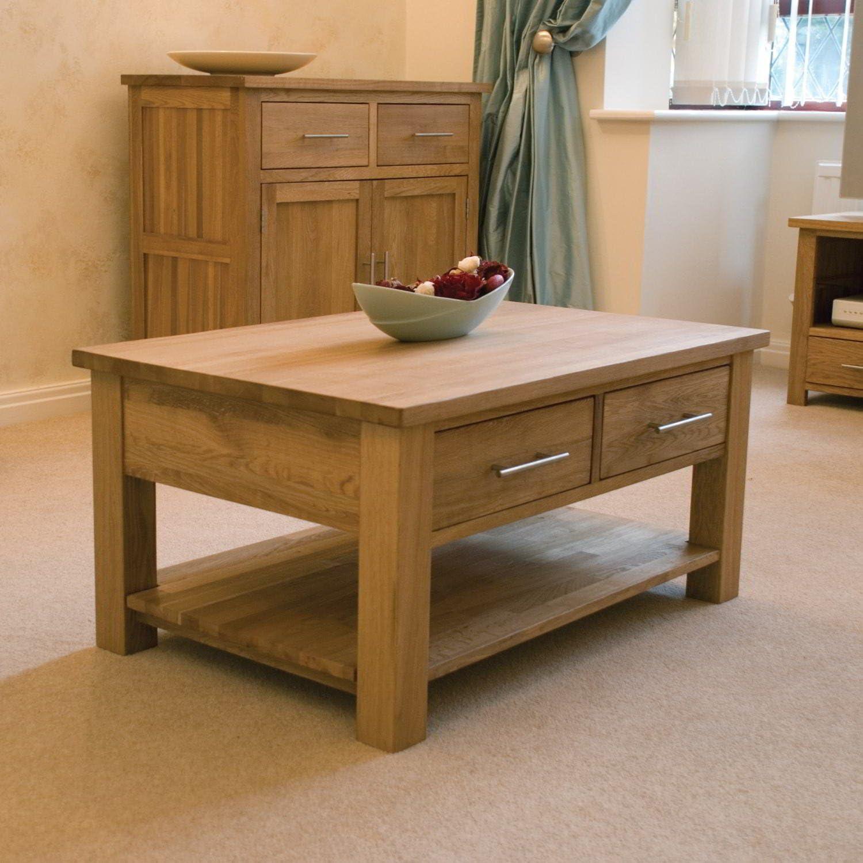Eton Solid Oak Furniture Storage Coffee Table Drawers Amazon Co Uk Kitchen Home