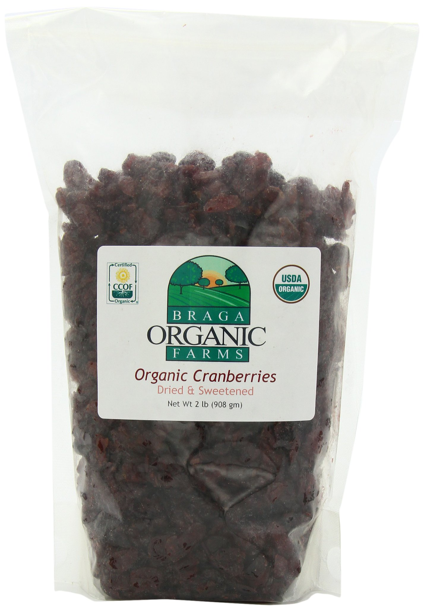 Braga Organic Farms Dried Cranberries, 2 Pound