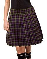 Purple and green Schoolgirl Tartan Plaid Pleated Skirt Highbury Junior Long