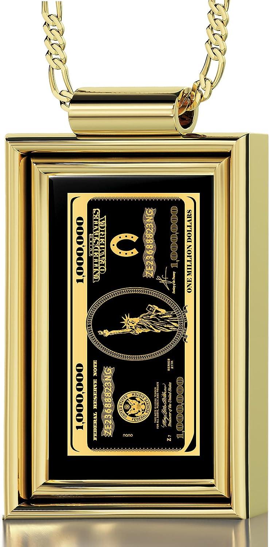 Collar con diseño de dinero - Colgante bañado en oro con gema de ónix en marco, inscrita en oro 24ct con billete de 1 millón de dólares - Joya para él: Amazon.es: Joyería