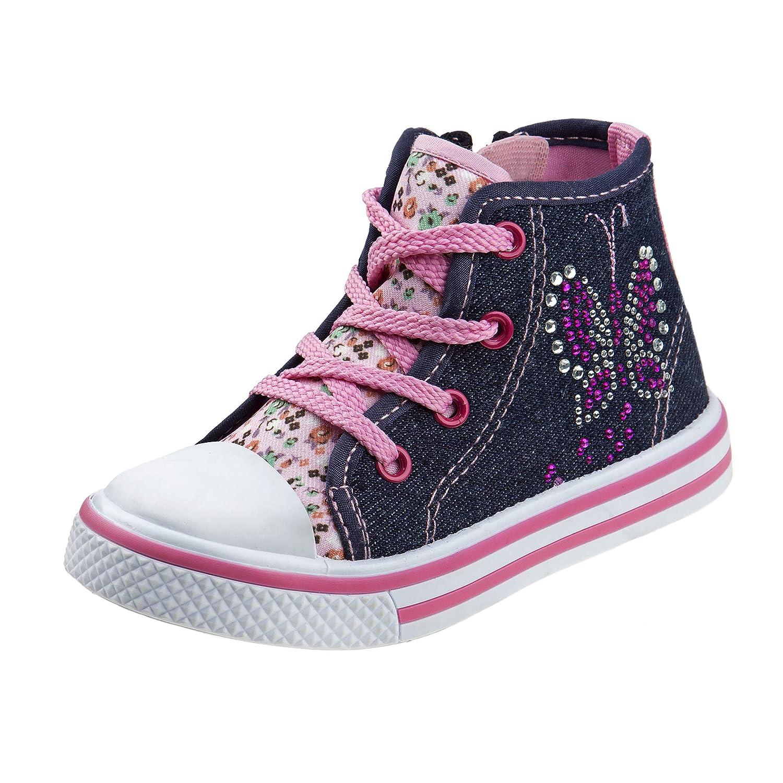 Laura Ashley Girls Side Zipper High Top with Glitter /& Studs Toddler
