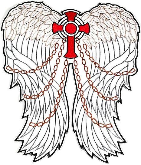 Tamaño grande rojo Cruz Cristiana Jesús ángel alas chaqueta camiseta parche coser hierro en bordados Badge. Pasa ...