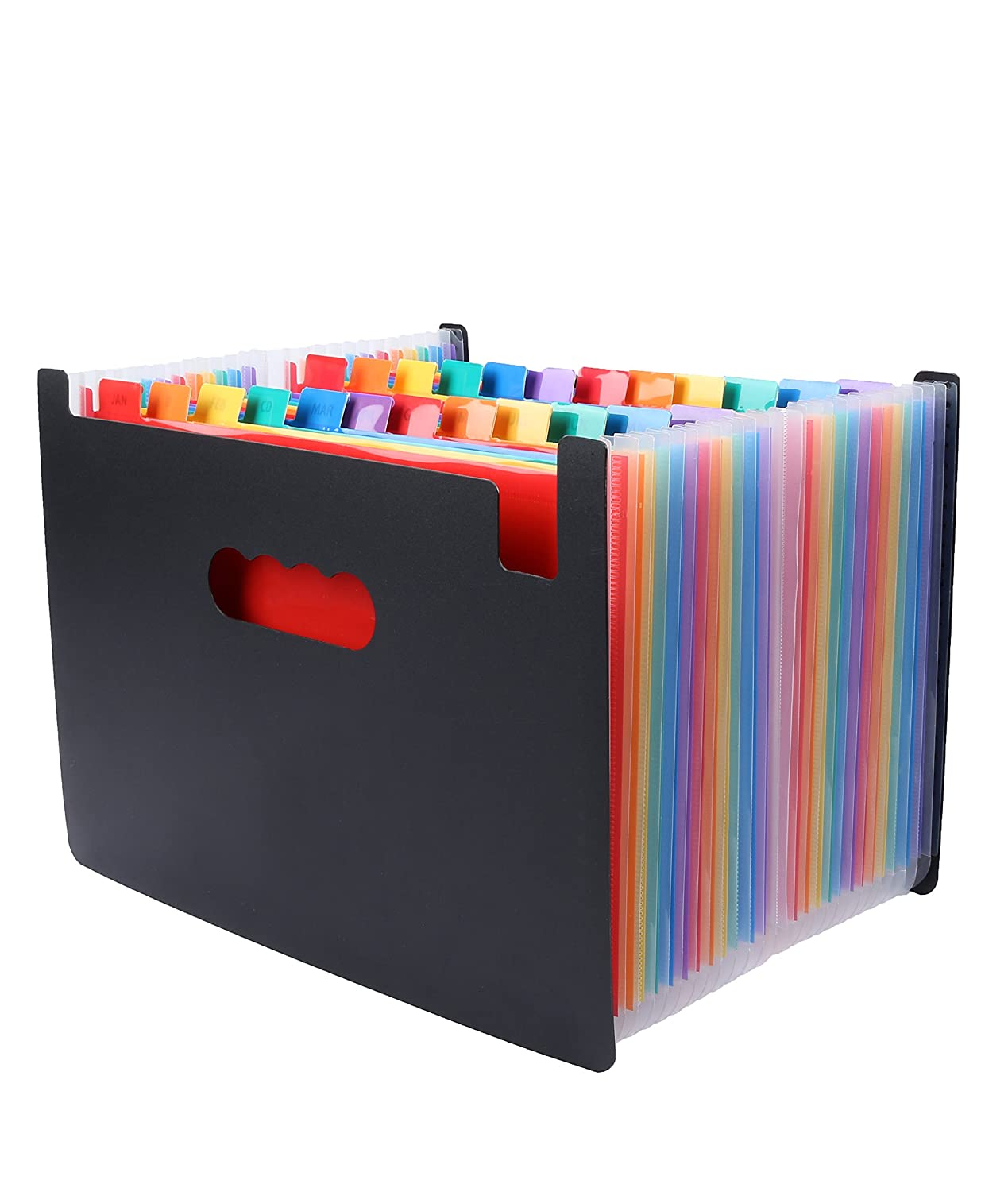 MYEUSSN 24 Pockets Expanding File Folder Large Space Design A4 Filing Folders Box File Business Home Office Document Accordion File Storage Bag