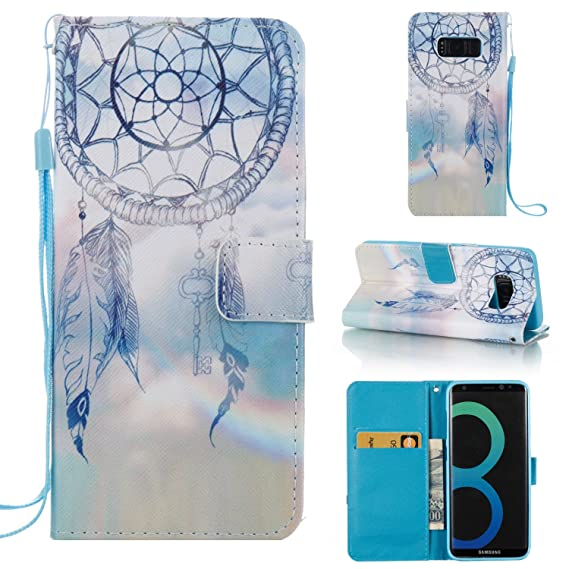 Galaxy S8 Wallet Case, SAVYOU Wallet Book Card Case Cover with Stand for  Samsung Galaxy S8(Flutter Monternet)