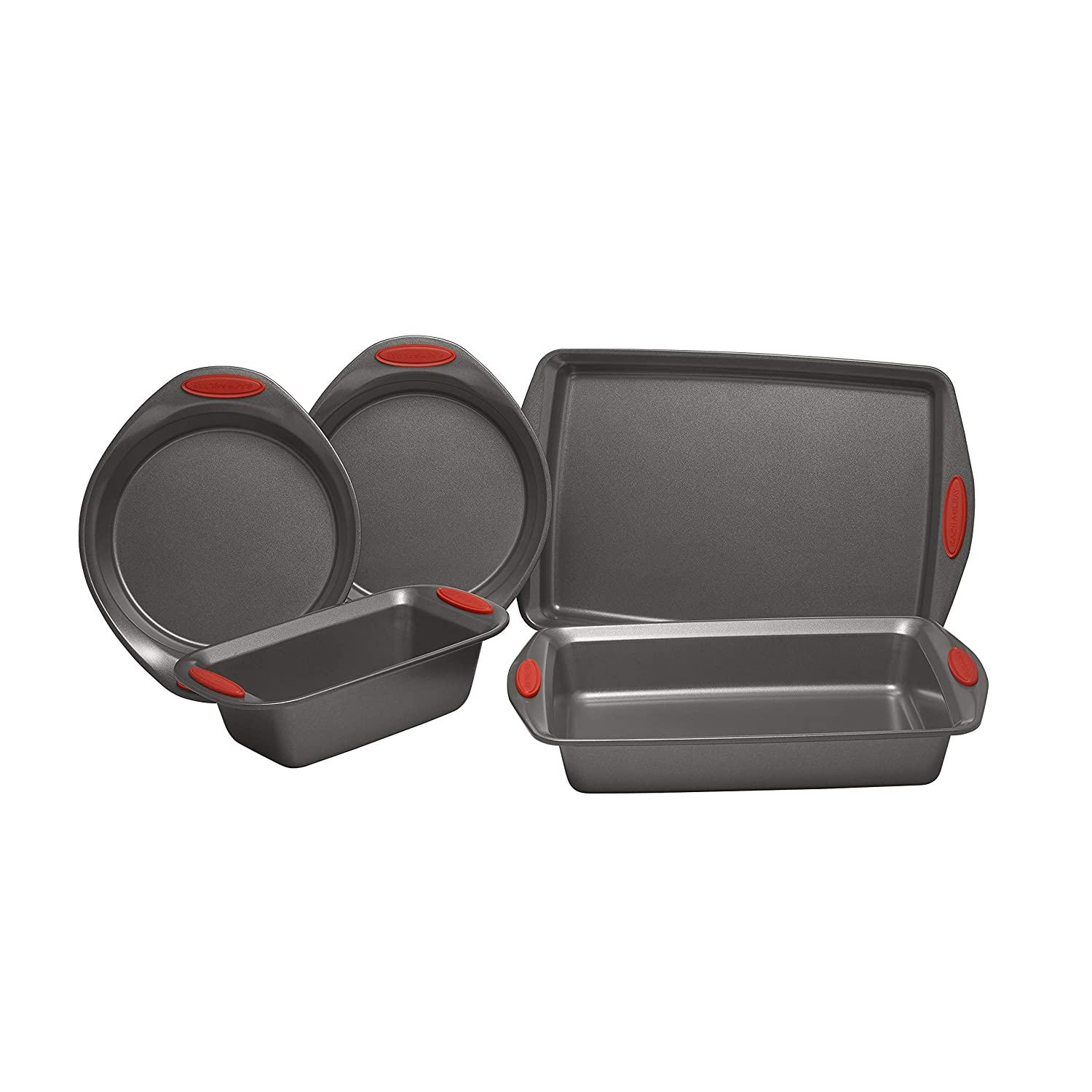Rachael Ray Yum-o! Nonstick Oven Lovin' Bakeware Set, Gray with Red Handles. 5-Piece Set
