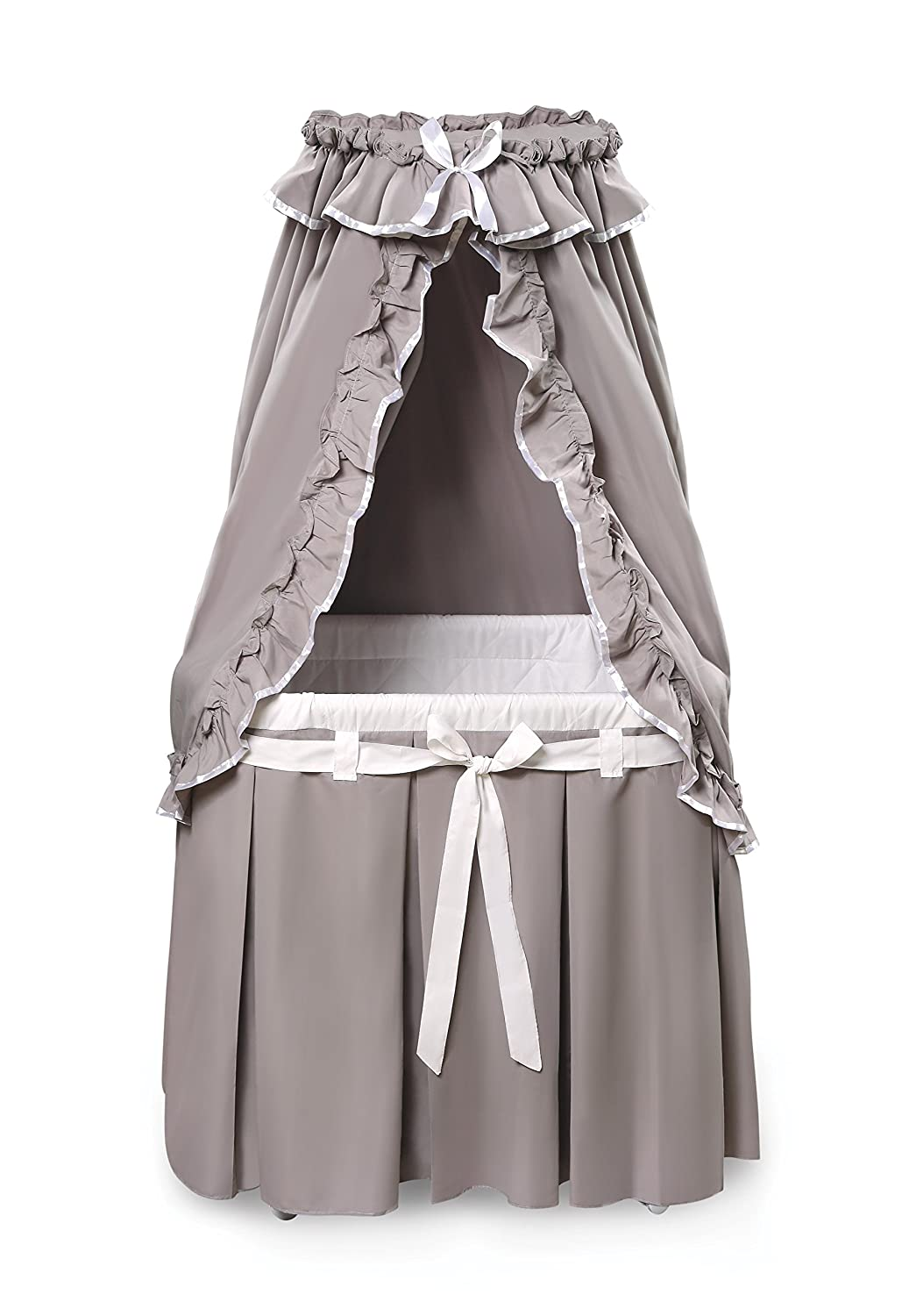 Badger Basket Majesty Baby Bassinet with Canopy Bedding, Gray/White 30063