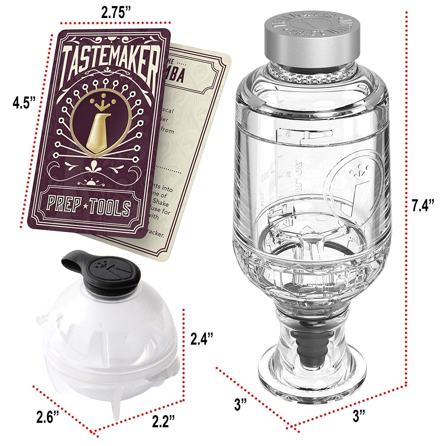 a Great Gift Item 4 Round Ice Ball Molds Be an Infused Alcohol Cocktail Mixologist using the 10 Homemade Flavored Recipes Active Infusion Tastemaker Cocktail Shaker Infuser Set Best Home Bar Kit