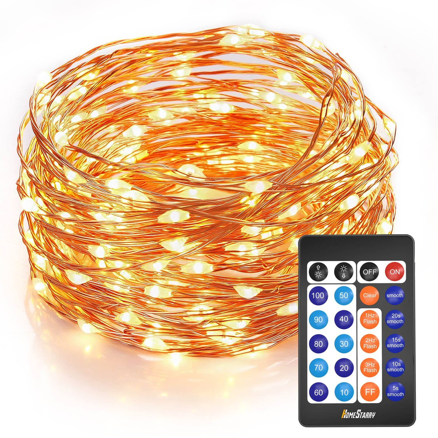 Homestarry Outdoor String Lights,Dimmable LED Starry String lights Perfect for Bedroom,Garden,Party,Indoor and Outdoor Decorations (100LEDs 33ft,Cooper Wire,WarmWhite,Remote Control)