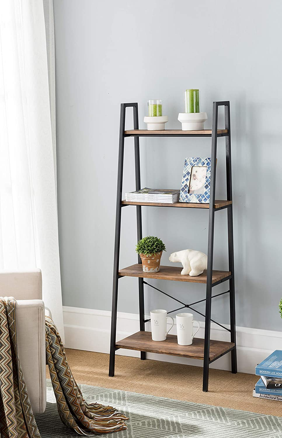 None Vintage Finish Metal Frame 4-tier Ladder Shelf Bookcase Bookshelf Accent, Plant Stand Storage Garden, Bathroom