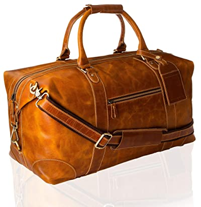 Viosi Genuine Leather Travel Duffel Bag