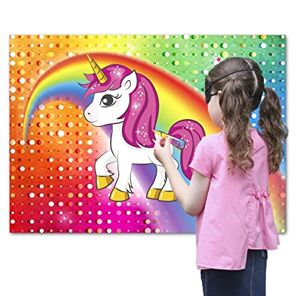 75a3b811 Pin The Horn On The Unicorn Party Favor Game For Kids – Includes: 24X  Reusable